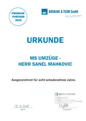 MS Umzüge: Urkunde Schadensfrei 2019